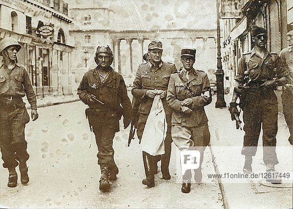 A German officer escorted by French soldiers  the liberation of Paris  World War II  1944. Artist: Unknown