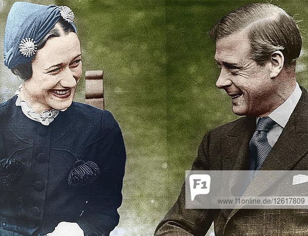 The Duke and Duchess of Windsor (Mrs Simpson) at the Chateau de Cande  France  1937. Artist: Unknown