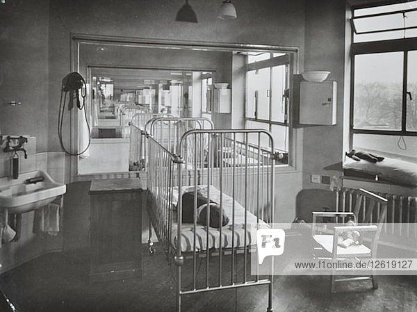 Childrens isolation wards  Brook General Hospital  London  1948. Artist: Unknown.