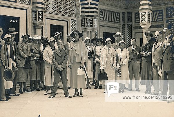 Tourists on an excursion from a cruise  possibly in Sidi Bou Said  Tunisia  1936. Artist: Unknown