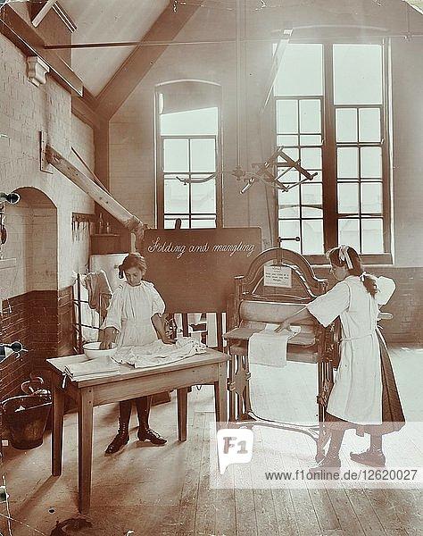 Laundry work  Tennyson Street School  Battersea  London  1907. Artist: Unknown.