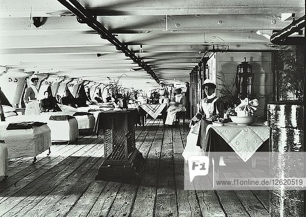 A copy of a photograph of the ward deck of the Atlas Smallpox Hospital Ship  c1890-c1899. Artist: Unknown.