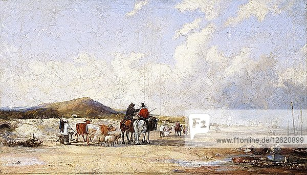 Crossing the sands to Swansea market  c1850s. Artist: Edward Francis Drew Pritchard