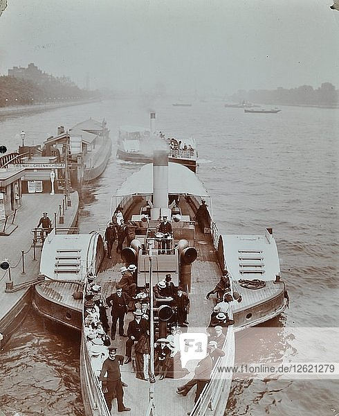 Passengers on the London Steamboat Service  River Thames  London  1907. Artist: Unknown.