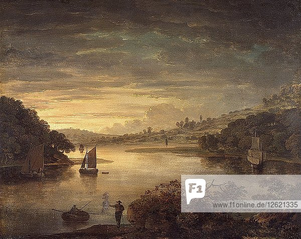 A view on the river Neath in Glamorganshire  1740-1760. Artist: Anthony Devis