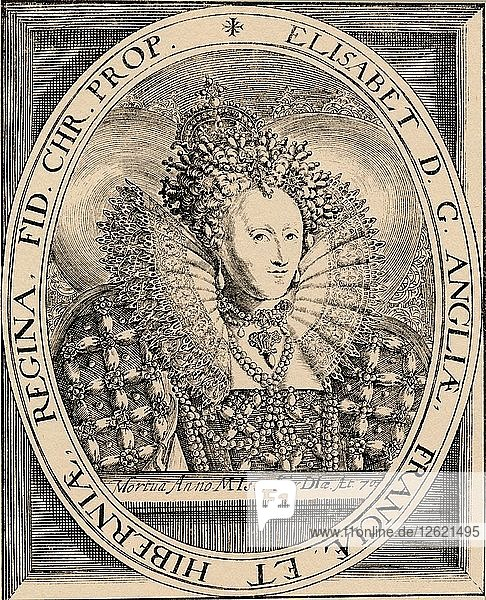 Elizabeth I (1533-1603)  Queen of England and Ireland  1889. Artist: Unknown