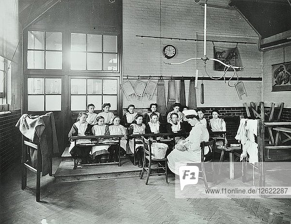 Housewifery lesson  Childeric Road School  Deptford  London  1908. Artist: Unknown.