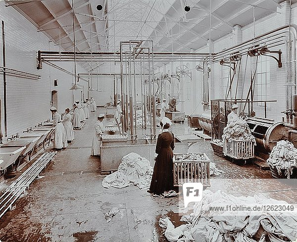 The laundry room  Long Grove Hospital  Surrey  1910. Artist: Unknown.