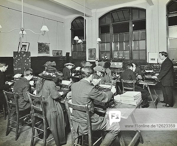 Typewriting class  Hammersmith Commercial Institute  London  1913. Artist: Unknown.