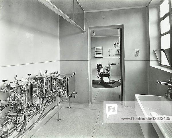 Sterilizing and dental theatre  Saint Ebbas Hospital  Surrey  1938. Artist: Unknown.