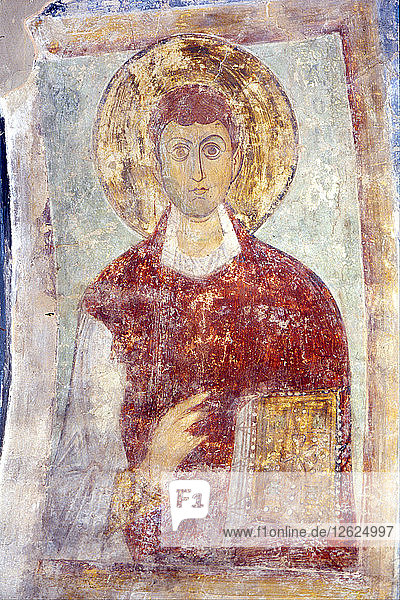 Saint Pantaleon (Panteleimon). Artist: Ancient Russian frescos