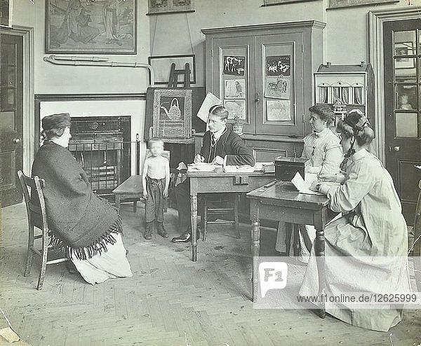 Medical examination of a boy  Holland Street School  London  1911. Artist: Unknown.