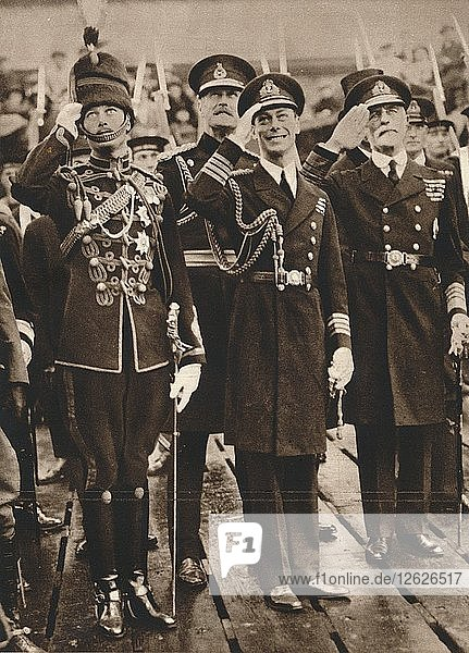 The Duke of York and Prince Henry welcoming the Prince of Wales at Portsmouth  1925. Artist: Unknown.