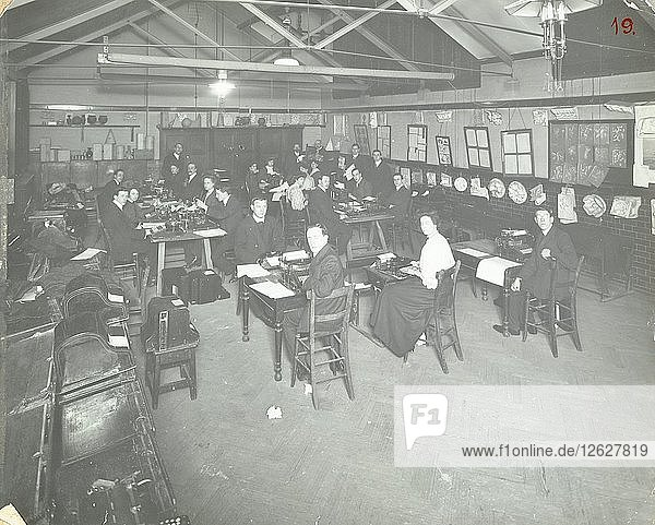 Typewriting examination class  Queens Road Evening Institute  London  1908. Artist: Unknown.