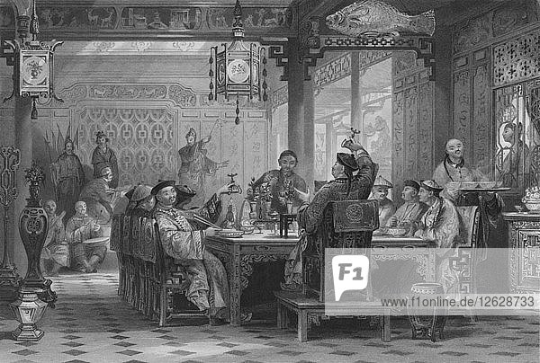 Dinner Party at a Mandarins House  1843. Artist: G Paterson.