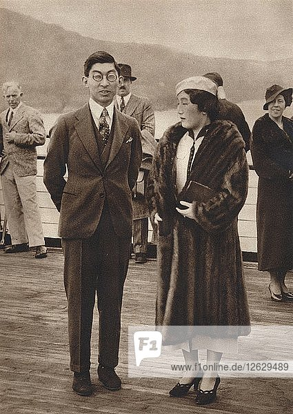 Prince and Princess Chichibu arriving on the Queen Mary  April 12th  1937. Artist: Unknown.