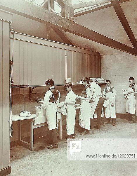Scullery practice  Sailors Home School of Nautical Cookery  London  1907. Artist: Unknown.