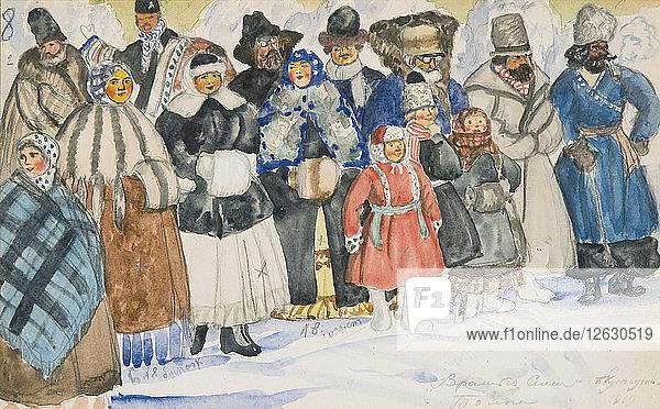 Costume design for the opera The Power of the Fiend by A. Serov  1919. Artist: Kustodiev  Boris Michaylovich (1878-1927)