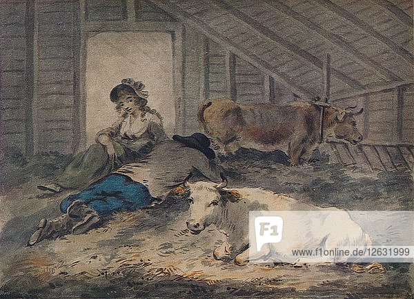 Courtship in a Cowshed  c1801. Artist: Julius Caesar Ibbetson.