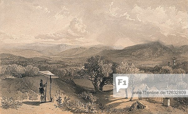 The Valley of Baidar  from Rear Petroskis Villa  Looking East  1856. Artists: Jonathan Needham  William Simpson.