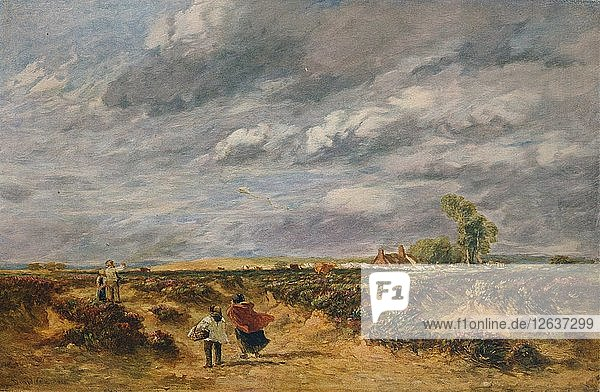 Flying the Kite  A Windy Day  1851. Artist: David Cox the elder.