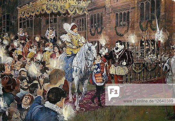 Robert Dudley welcoming Queen Elizabeth I to Kenilworth Castle  Warwickshire  July 1575 (c2000s). Artist: Ivan Lapper.