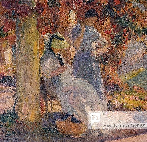 Sewing Scene under the Pergola at Marquayrol  1902  (c1932). Artist: Henri Jean Guillaume Martin.