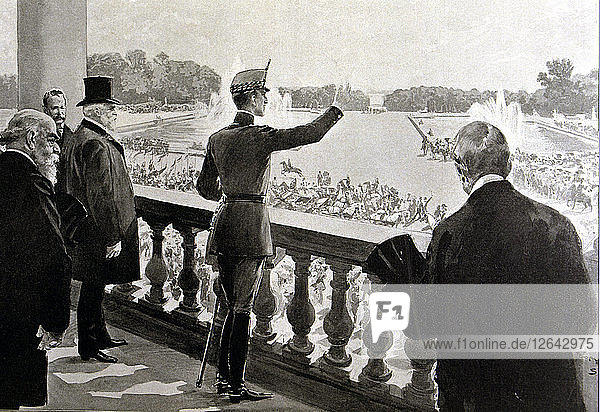 King Alfonso XIII of Spain (1886-1941) acclaimed in the gardens of Versailles  Paris (1905)  engr?
