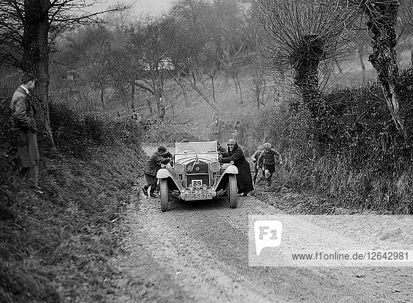 Alfa Romeo of KD Evans getting a push at the NWLMC London-Gloucester Trial  1931. Artist: Bill Brunell.