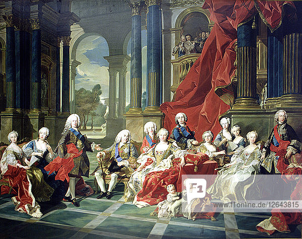 The family of Felipe V  oil painting  appear with the king  his second wife Elizabeth Farnese and?