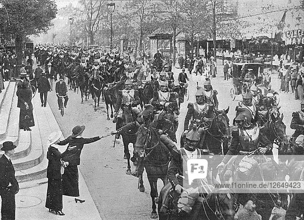 French cuirassiers riding through the streets of Paris on their way on the front  1914. Artist: Unknown.