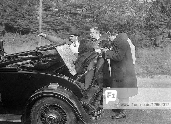 Wolseley Hornet taking part in the Bugatti Owners Club car treasure hunt  25 October 1931. Artist: Bill Brunell.