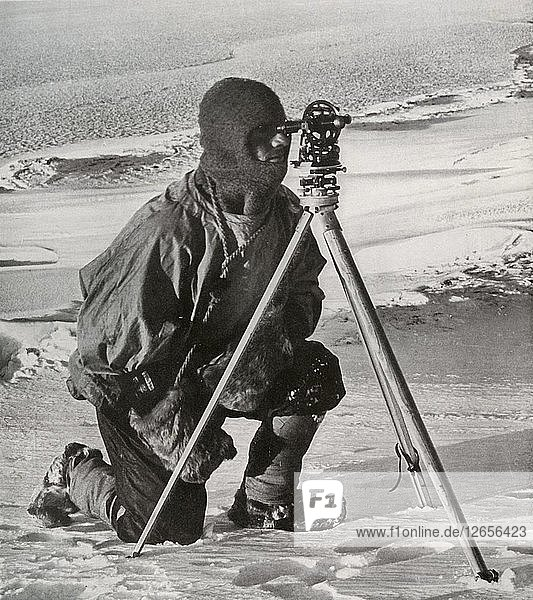 Lieut. E. R. G. R. Evans Surveying With The Four-Inch Theodolite  October 1911  (1913). Artist: Herbert Ponting.