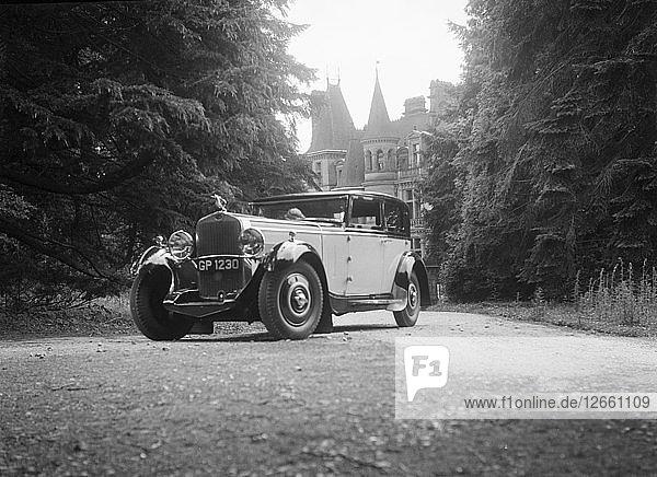 Kitty Brunell road testing a 1931 Delage D8  Wykehurst Place  Bolney  Sussex. Artist: Bill Brunell.