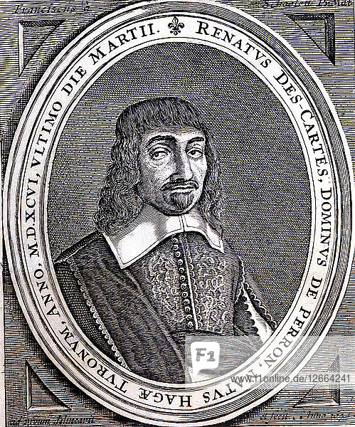 René Descartes (1596 - 1650)  French philosopher and scientist  original engraving of Principia P?