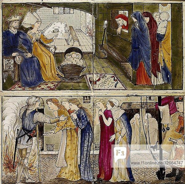 Sixteen tiles form eight illustrations of the Briar Rose tale  1862-1865. Artists: William Morris  Sir Edward Coley Burne-Jones.