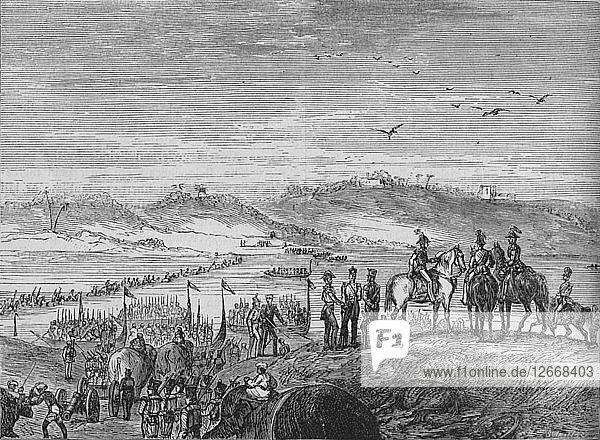 The British Army Crossing the Sutlej  c1880. Artist: Joseph Swain.