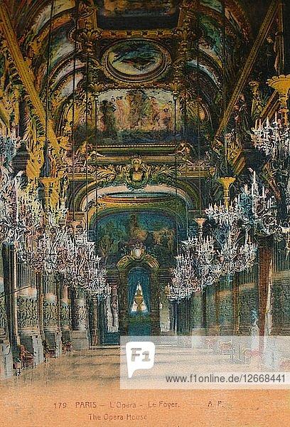 LOpéra Garnier - the foyer  Paris  c1920. Artist: Unknown.