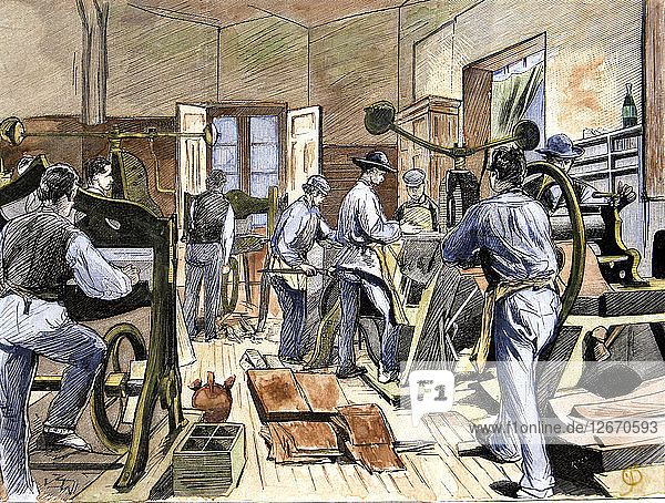 Inside the shoe factory of Mr. Soldevila  soles cutting department  in 1874  colored engraving in?
