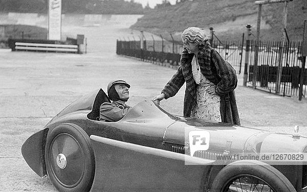 Leon Cushmans Austin 7 racer at Brooklands for a speed record attempt  8 August 1931. Artist: Bill Brunell.