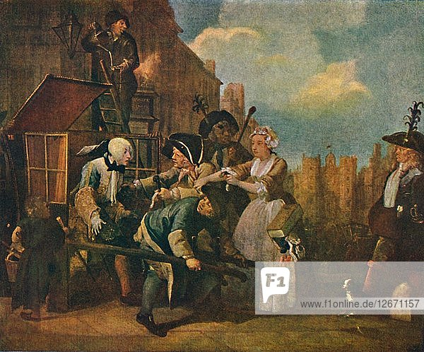 The Rakes Progress - The Arrest  c1735  (1904). Artist: William Hogarth.