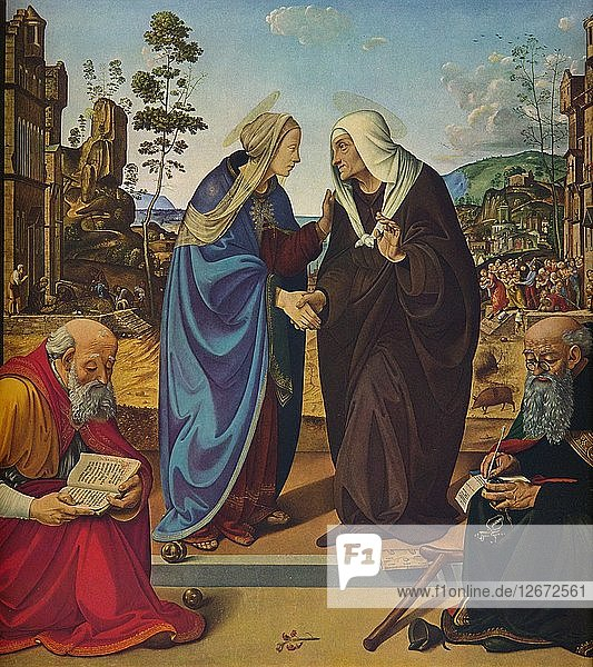 The Visitation with Saints Nicholas and Anthony Abbot  c1489-1490. Artist: Piero di Cosimo.