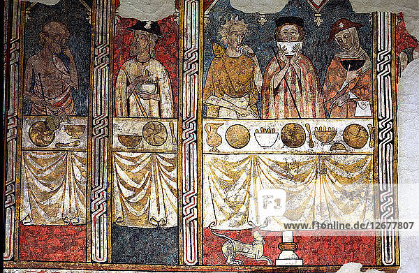 Murals in the refectory of the Canonja of the Seu Vella of Lleida. The Canonical Pia Almoina ?
