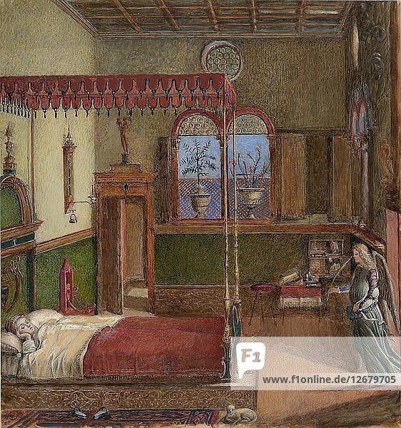 Drawing of Carpaccios Dream of Saint Ursula  1876. Artist: John Ruskin.