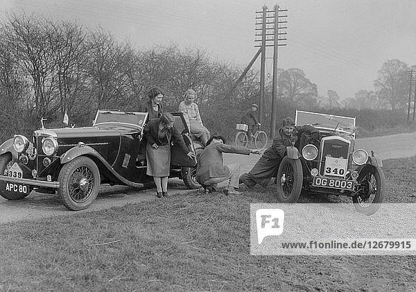 AC 4-seater tourer of Kitty Brunell and a Wolseley Hornet at the RAC Rally  1933. Artist: Bill Brunell.