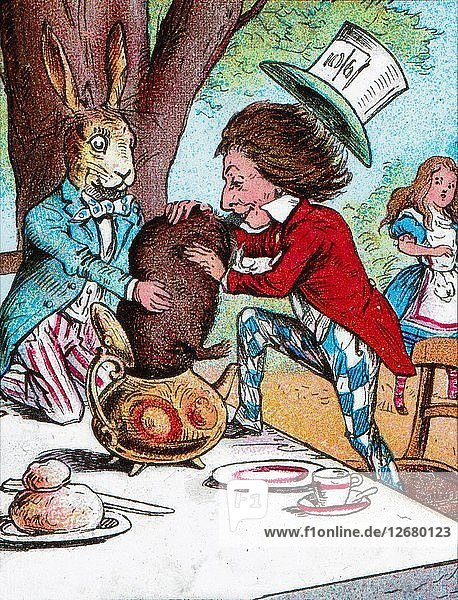 The Mad Hatter and the March Hare trying to put the Dormouse into a teapot  c1910. Artist: John Tenniel.