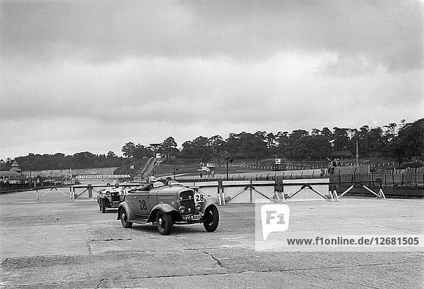 J Clelands Ford V8 and JH Barkers Riley Lynx at the chicane  JCC Members Day  Brooklands  1939. Artist: Bill Brunell.
