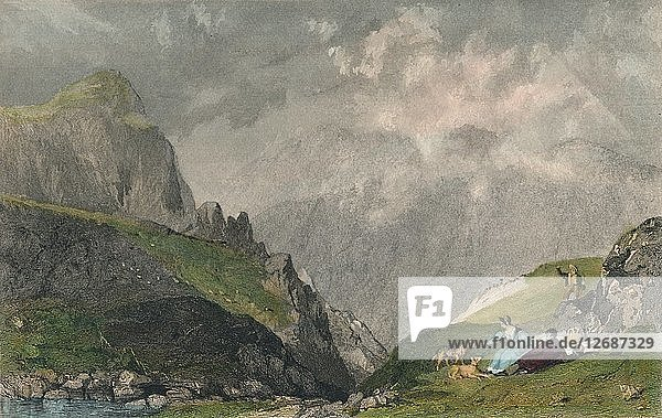 View from Langdale Pikes  Looking Towards Bowfell  Westmorland  1835. Artist: William Kelsall.