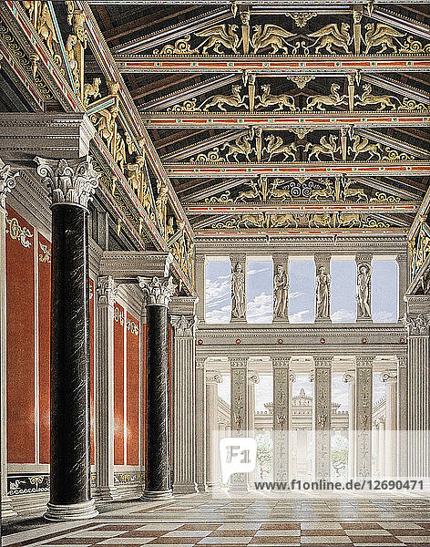 The Orianda Palace in the Crimea. Interior Perspective of the Great Hall  1846.