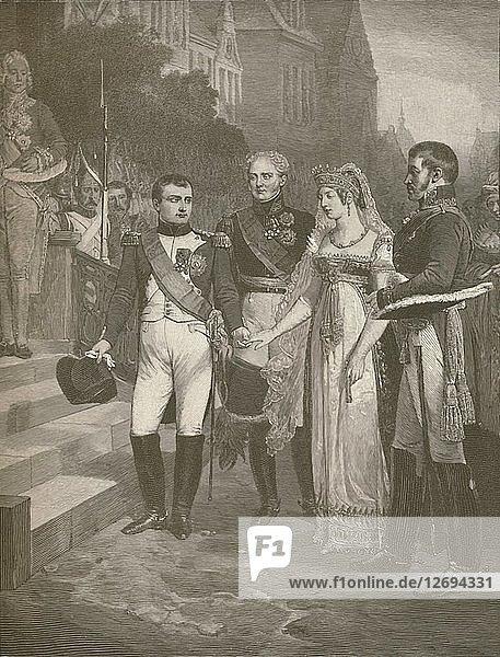 Napoleon Receiving The Queen of Prussia at Tilsit  1807  (1896). Artist: Peter Aitken.